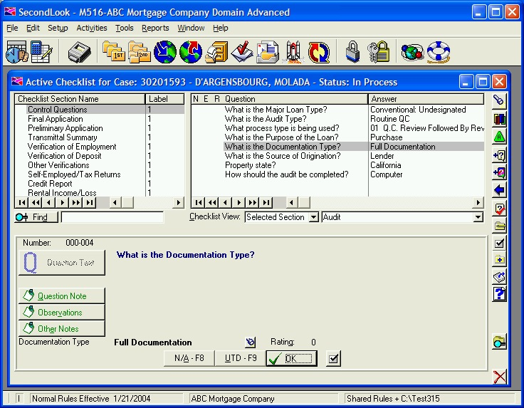 Example Expert System Data Gathering Screen